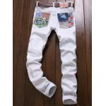 cheap Zipper Fly Sequined Embroidered Patchwork Jeans