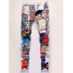 Zipper Fly Sequined Embroidered Patchwork Jeans