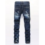 cheap Stud Embellished Zipper Fly Patchwork Ripped Jeans