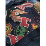 best Stud Embellished Zipper Fly Patchwork Ripped Jeans