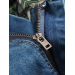 Zipper Fly Distressed Printed Lining Jeans for sale