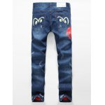 cheap Zipper Fly Distressed Cartoon Printed Lining Jeans