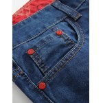 Zipper Fly Distressed Cartoon Printed Lining Jeans deal