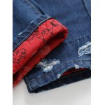 Zipper Fly Distressed Cartoon Printed Lining Jeans photo