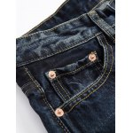 Zipper Fly Graphic Print Distressed Jeans deal