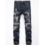 Zipper Fly Graphic Print Distressed Jeans