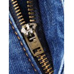 Rivet Embellished Zipper Fly Frayed Ripped Jeans for sale
