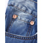 Rivet Embellished Zipper Fly Frayed Ripped Jeans deal