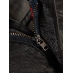 Letter Embroidered Scratched Narrow Feet Jeans deal