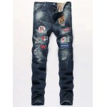 Flag Badge Distressed Jeans