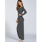 Autumn Stripe Print Slit Maxi Dress for sale