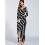 Autumn Stripe Print Slit Maxi Dress deal