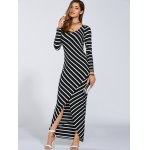 cheap Autumn Stripe Print Slit Maxi Dress