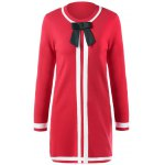 Bowknot Embellished Contrast Knitted Dress photo