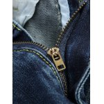 Zipper Fly Colorful Paint Design Distressed Jeans for sale
