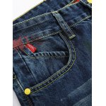 cheap Zipper Fly Colorful Paint Design Distressed Jeans