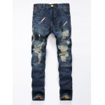 Zipper Fly Colorful Paint Design Distressed Jeans