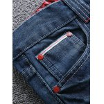 cheap Zipper Fly Scratched Straight Leg Ripped Jeans