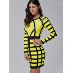 Long Sleeve Color Block Bodycon Mini Dress for sale