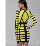 best Long Sleeve Color Block Bodycon Mini Dress
