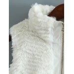 High Neck PU Leather Spliced Faux Fur Waistcoat for sale