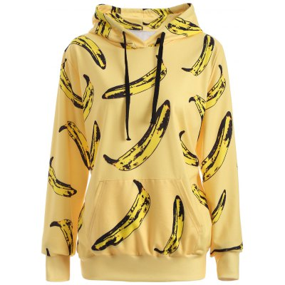 Pullover Banana 3D Print Yellow Hoodie