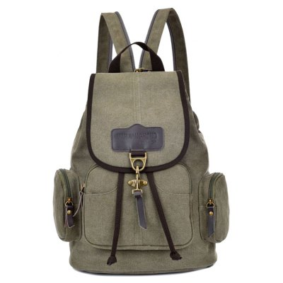 Canvas Drawstring Zippers Backpack