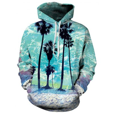 Front Pocket Beach Palm Hoodie