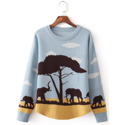 Elephant Jacquard Pullover Sweater