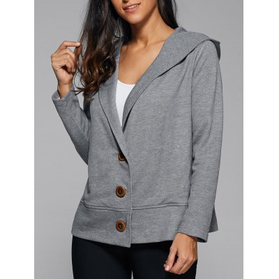 Hooded Button Up Coat