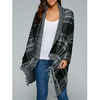 Checked Cape Fringed Overcoat