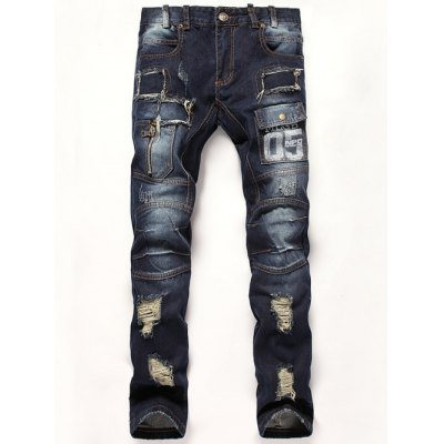 05 Print Applique Broken Hole Jeans