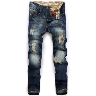 Broken Hole Design Straight Leg Jeans