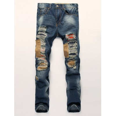 Patched Scratched Ripped Jeans