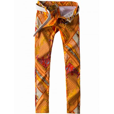 Zipper Fly Paisley and Geometric Print Straight Leg Jeans