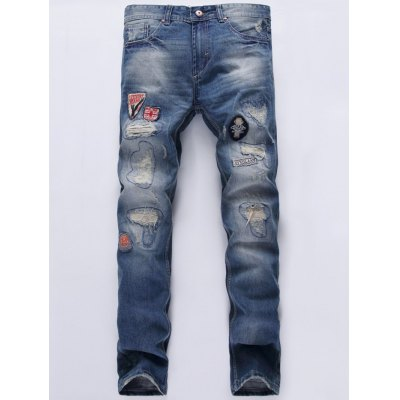 Patch Straight Frayed Jeans