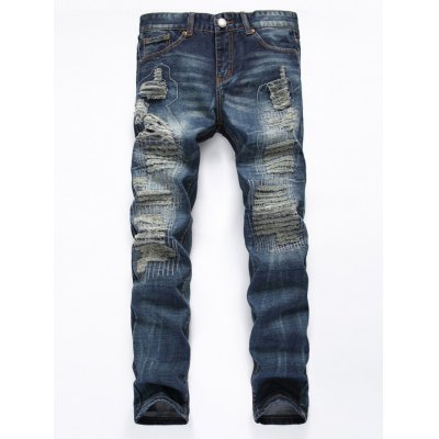 Frayed Stitching Zipper Fly Ripped Jeans