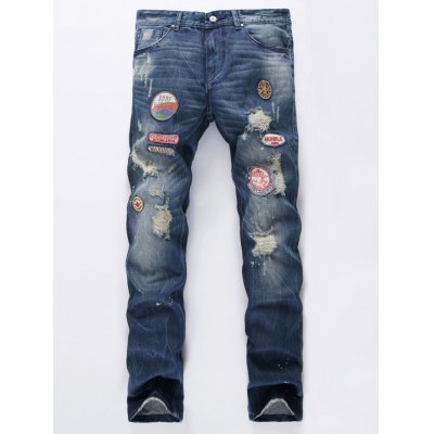 Patch Design Scratched Ripped Jeans