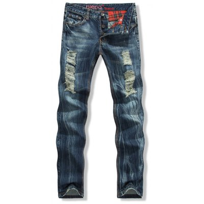 Button Fly Scratched Five-Pocket Ripped Jeans