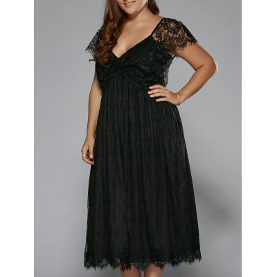 Plus Size Empire Waist Lace Dress