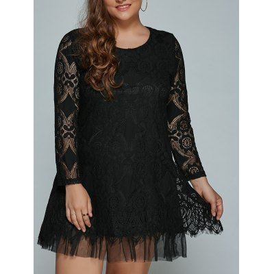 Plus Size Long Sleeve Lace Shift Dress