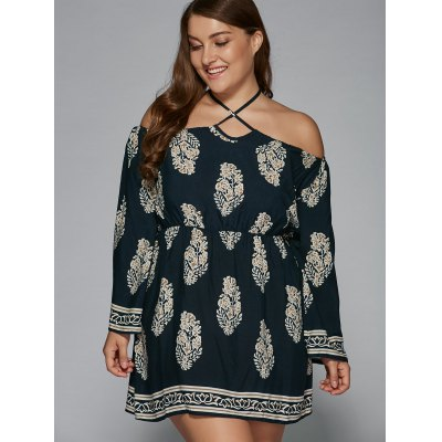 Plus Size Halter Flare Sleeve DressPlus Size Dresses<br>Plus Size Halter Flare Sleeve Dress<br><br>Style: Bohemian<br>Material: Polyester,Spandex<br>Silhouette: A-Line<br>Dresses Length: Mini<br>Neckline: Halter<br>Sleeve Length: Long Sleeves<br>Pattern Type: Others<br>With Belt: No<br>Season: Spring,Summer<br>Weight: 0.370kg<br>Package Contents: 1 x Dress