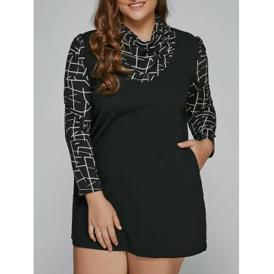 Geometric Mini Long Sleeve Plus Size Dress