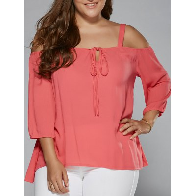 Plus Size Cut Out Tie Front Blouse