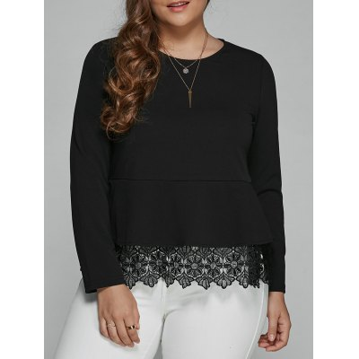 Long Sleeve Lace Spliced Blouse