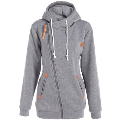 Plus Size Inclined Zipper Drawstring Hoodie
