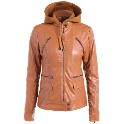Warm Drawstring Removable Hooded PU Biker Jacket