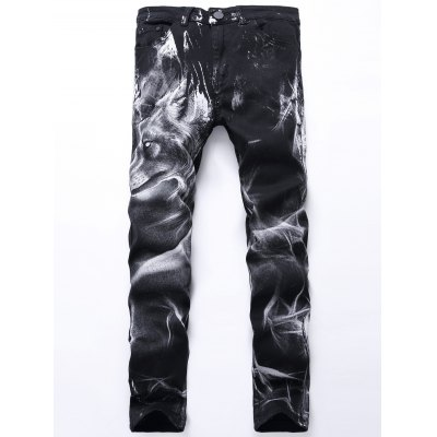 Wolf Print Zip Fly Jeans