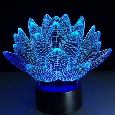 3D Christmas Lotus Flower Shape Touch Colorful Night Light