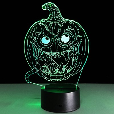 3D Halloween Funny Pumpkin Shape Touch Colorful Night Light